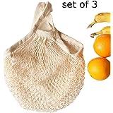 Ahyuan Ecology Reusable Cotton Mesh Grocery Bags Cotton String Bags Net Shopping Bags Mesh Bags (Cream)