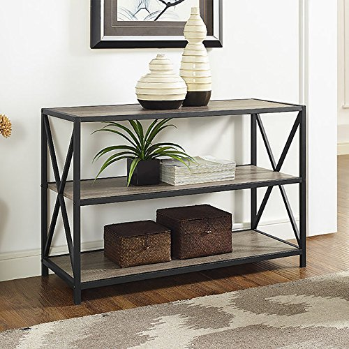WE Furniture 40″ x-Frame Metal & Wood Media Bookshelf