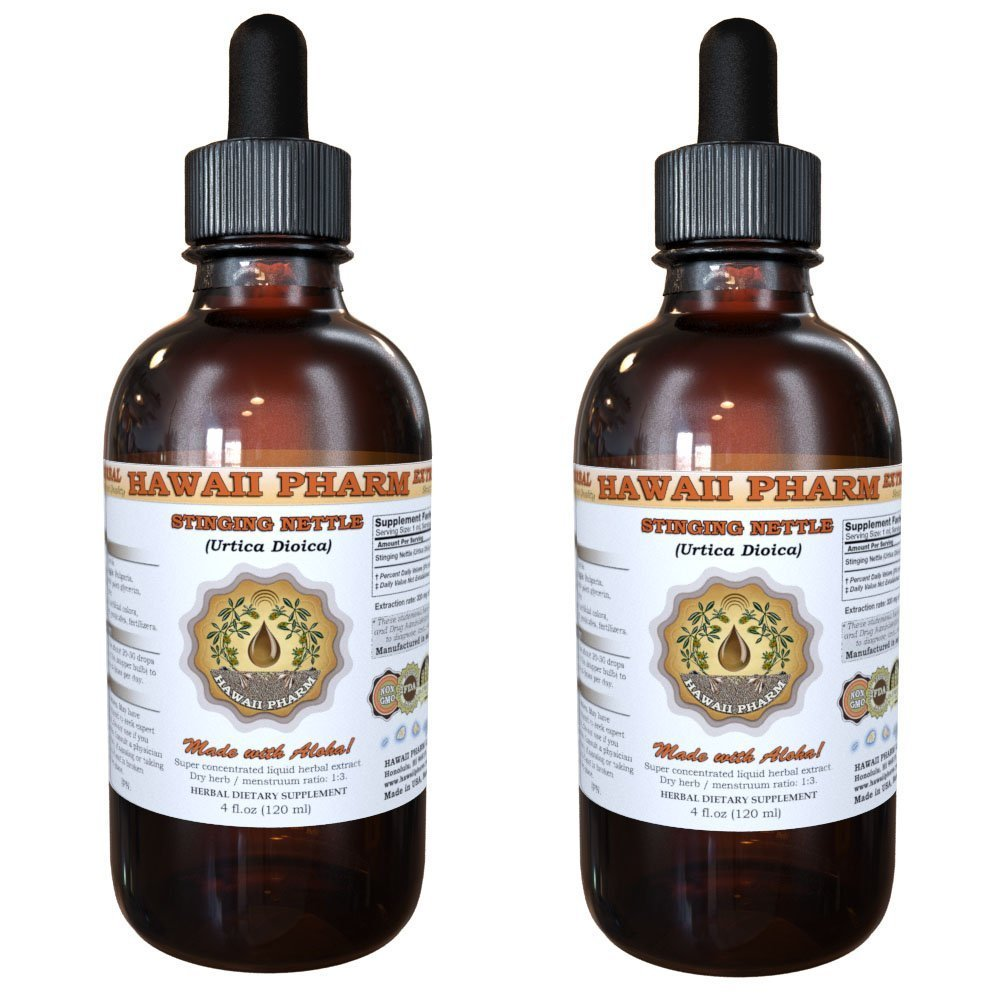 Stinging Nettle Liquid Extract, Organic Stinging Nettle (Urtica Dioica) Dried Leaf Tincture, Herbal Supplement, Hawaii Pharm, Made in USA, 2x2 fl.oz