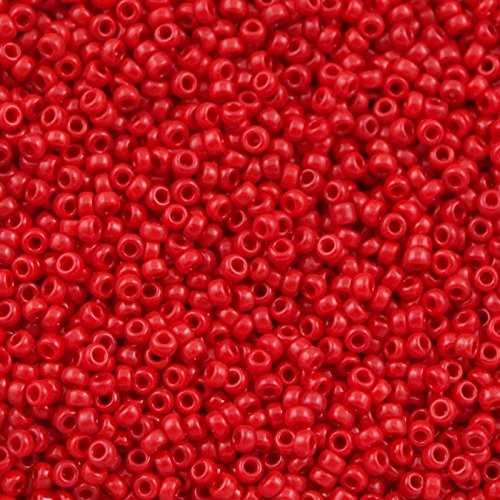 Red Seed Bead - Opaque Red 15/0 Round Miyuki Seed Beads Apx 8.2g Tube