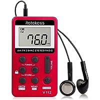 Retekess V112 Portable Pocket AM FM Radio Digital Tuning Mini Little Radios with Earphone Rechargeable Battery LCD…