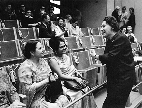 Vintage photo of The State Council Ulla Lindstr246;m welcomes Karim and WAK Burki from Pakistan's Embassy at the Women's International Stockholm - Embassy International