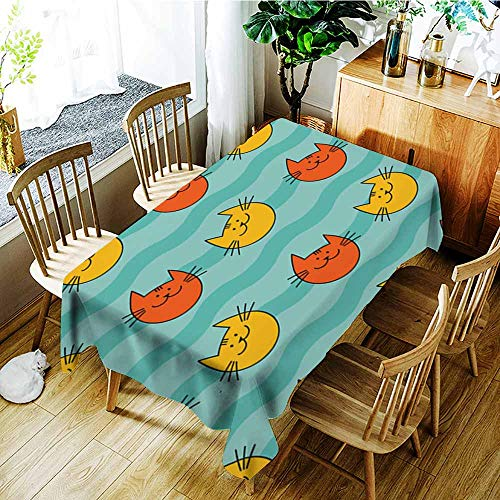 AGONIU Tablecloth,Seamless Pattern with Hipster Cute Cats Funny Lovely Cats Cloth Design Wallpaper Textile Rapport,Modern Minimalist,W60X102L