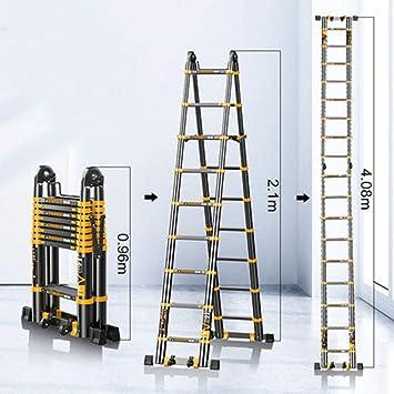 XC Multifuncional Escaleras telescópicas- Escalera plegable escalera de espina de pescado multifuncional aleación de aluminio Una elevación clave escalera de Ingeniería for el pasillo del ascensor/a: Amazon.es: Bricolaje y herramientas
