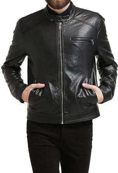 New Men Designer Genuine Cow Leather Soft Biker Leather Jacket LFC1062