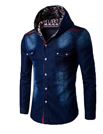 Andyou Men Plus Size Basic Style Botton Front Hoodie Jean Jacket
