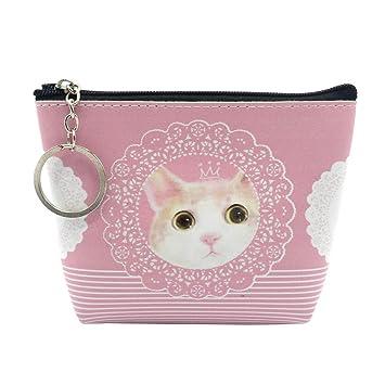Topdo - 1 monedero rosa de piel para gatos, monedero ...