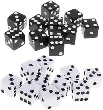 MagiDeal 20 Piezas D6 Dice Dados de Seis Caras Set para Juegos de Mesa de Dados Color Negro Blanco: Amazon.es: Juguetes y juegos