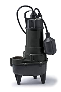 ECO-FLO Products RSE50W Cast Iron Sewage Pump with Wide Angle Switch, 1/2 HP, 5,700 GPH