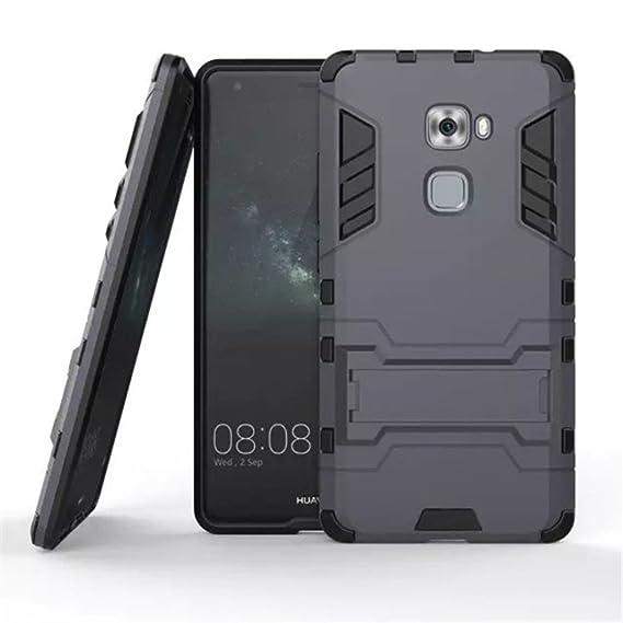 Apanphy Huawei Mate S Carcasa, Híbrida de Silicona + Polycarbonato Doble Resistencia, y soporte para mesa - Azul oscuro