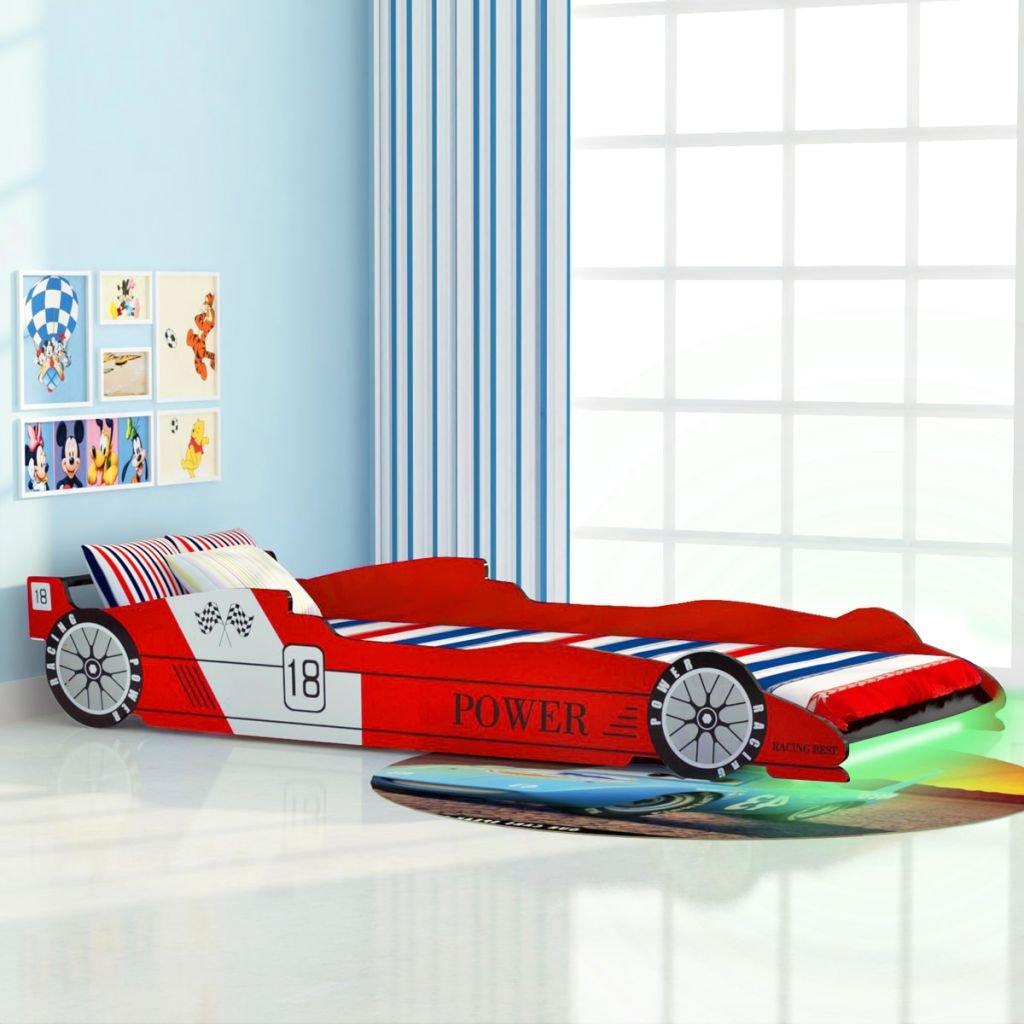 Festnight Kinderbett Autobett Rennwagen ohne Matratze mit LED 90 x x x 200 cm Rot 38dc38