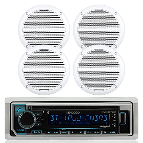 "Kenwood Bluetooth Marine Radio Car ATV CD/MP3 USB iPod iPhone Pandora Player 4 6.5"" Inch Marine Speakers System - Outdoor Marine Audio Kit"