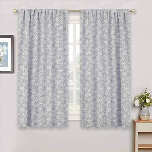 Jinguizi Christmas Short Curtain Various Types of and Tribal Snowflakes Arrows Stars in The Cold Winter Bedroom Curtains Silver White 72 x 72 inch