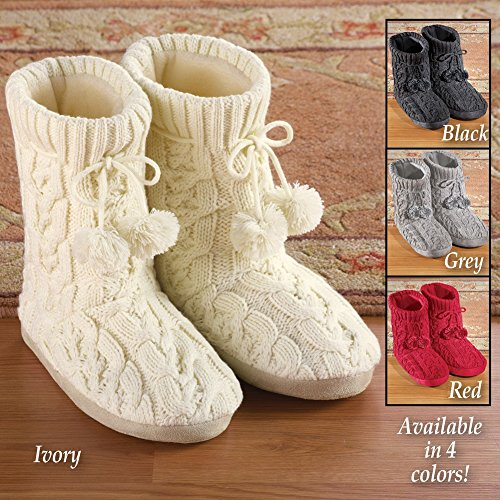 Women's Cable Knit Booties, Black, Large by Collections Etc (Image #2)