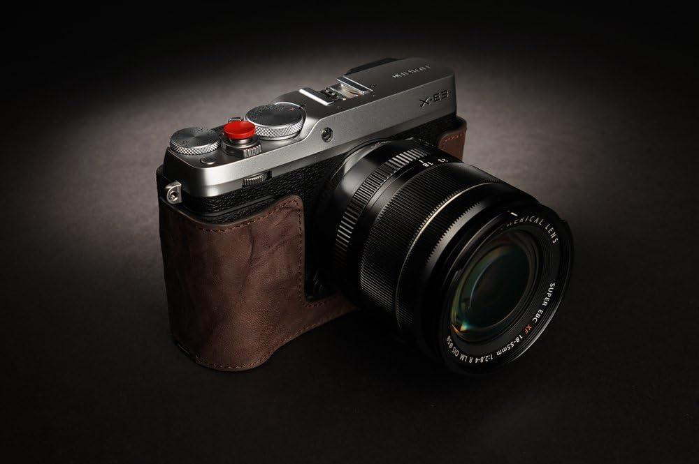Handmade Genuine Real Leather Half Camera Case Bag Cover for FUJIFILM XE3 X-E3 Bottom Open Dark Brown color