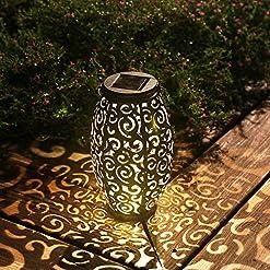Garden and Outdoor Esgarden Solar Light Outdoor Hanging Solar Lantern Garden Outdoor Solar Light with Handle Retro Metal Waterproof Patio… outdoor lighting