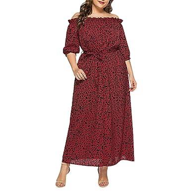 Smony - Womens Dress Vestido de Moda con Estampado de Leopardo ...