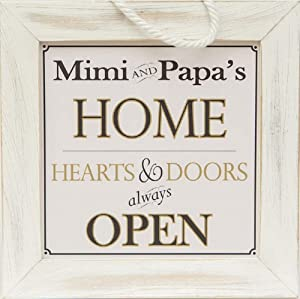 Mimi and Papa's Home - Decorative Framed House Sign - Hearts and Doors Always Open