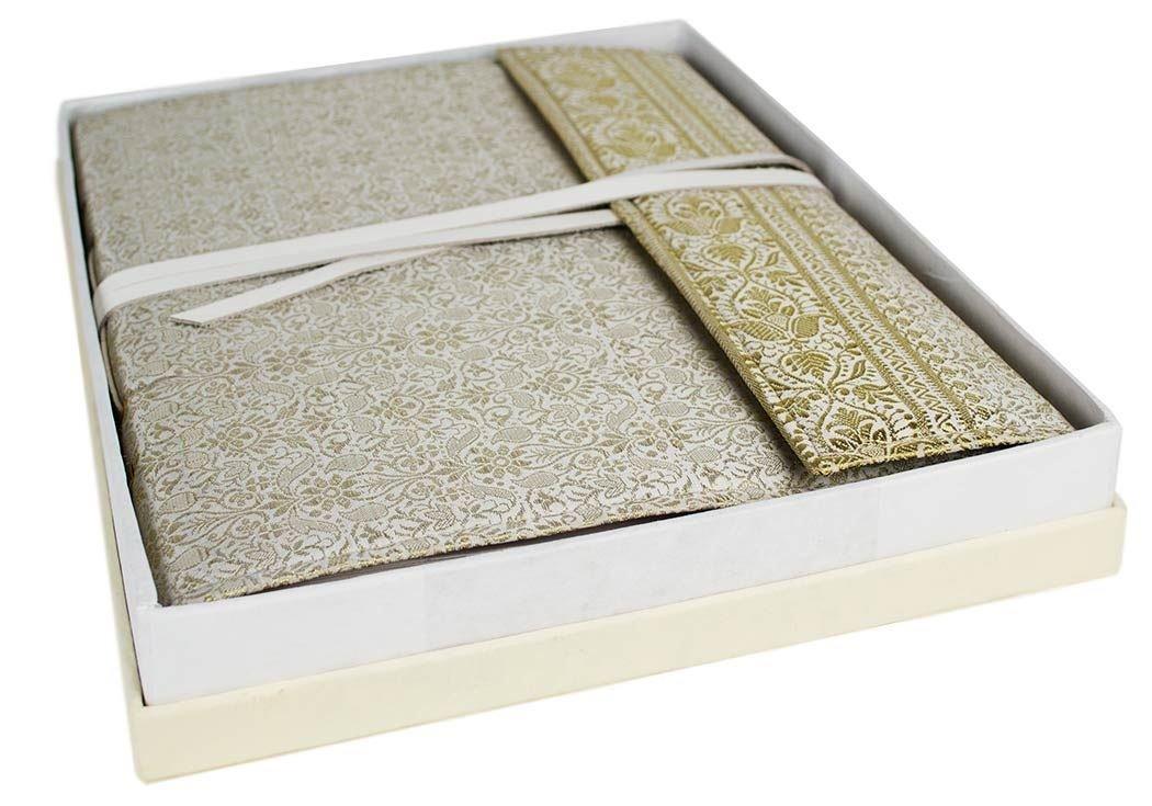 Sari Large White Handmade Hand Bound Photo Album, Classic Style Pages (34cm x 26cm x 4cm)
