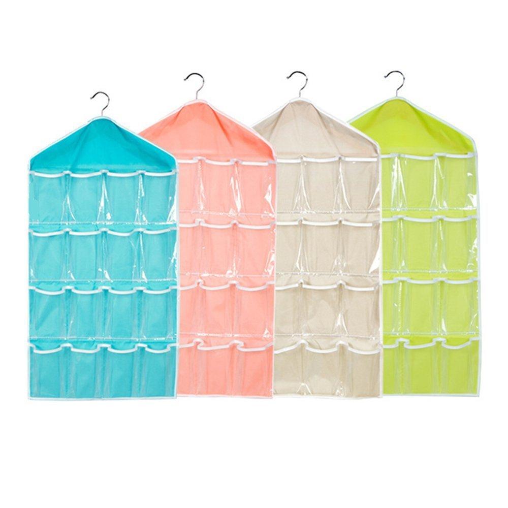 XGZ 16 Pockets Hanging Closet wardrobe Storage Bra Underwear Socks Ties Organiser 4 Pack Storage Organiser Green,Yellow,Pink,Blue