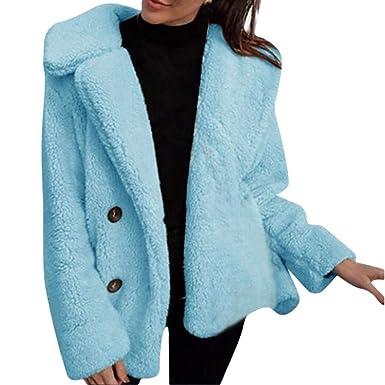 FELZ Abrigos Mujer Invierno Rebeca de Chaqueta de Abrigo de Piel de Color sólido de Invierno para Mujer Abrigos: Amazon.es: Ropa y accesorios