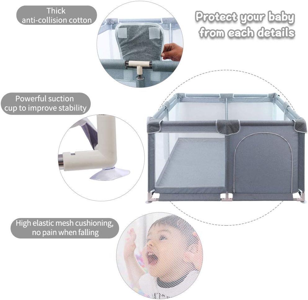 Arkmiido Parc pour b/éb/é aire de jeu de s/écurit/é robuste avec filet respirant super doux centre dactivit/és pour enfants int/érieur et ext/érieur avec base antid/érapante GRIS