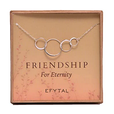 EFYTAL Four Friend Necklace Sterling Silver Friendship Interlocking Infinity Circles Gift 4 Best Friends Group