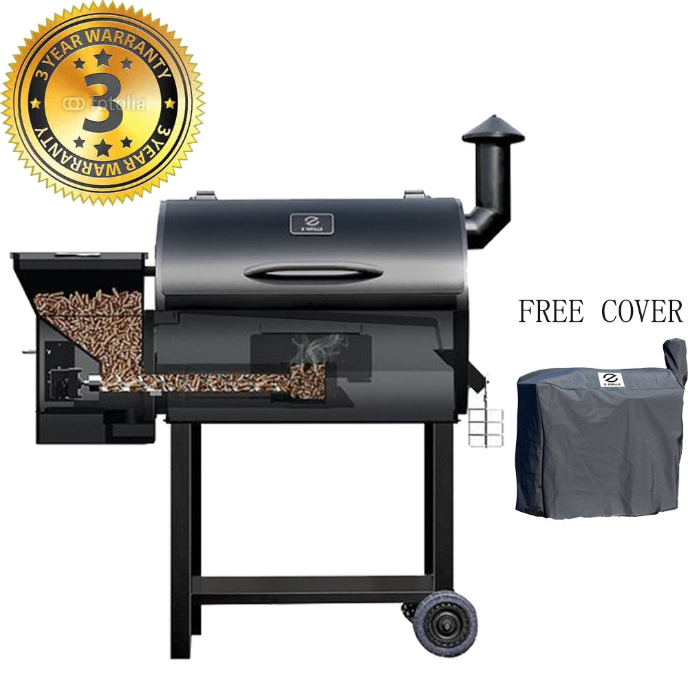 Z GRILLS Wood Pellet Grill & Smoker 7 in 1 Electric BBQ Grill – 700Sq.in Cooking Area for Outdoor BBQ Smoker Roast, Bake,Braise and BBQ Grill with Free Grill Cover