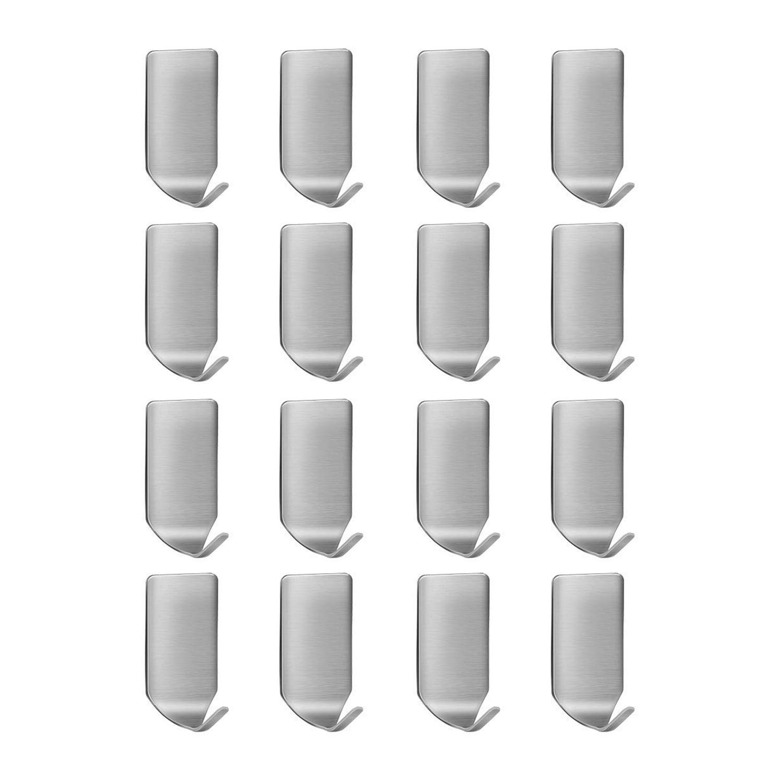 Gancho para pared Gancho autoadhesivo 3M Gancho para colgar en pared de acero inoxidable YFOX 304 Impermeable y resistente al aceite Adecuado para el bañ o de la cocina y la oficina (16 piezas)