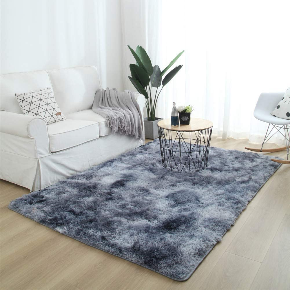 Amazon Com Caixin Ultra Soft Area Fluffy Rug Shag Living Room Bedroom Carpet Thick Non Slip Decor Children Carpets Multi Color Floor Mat Dark Gray 140x200cm 55x79inch Home Kitchen