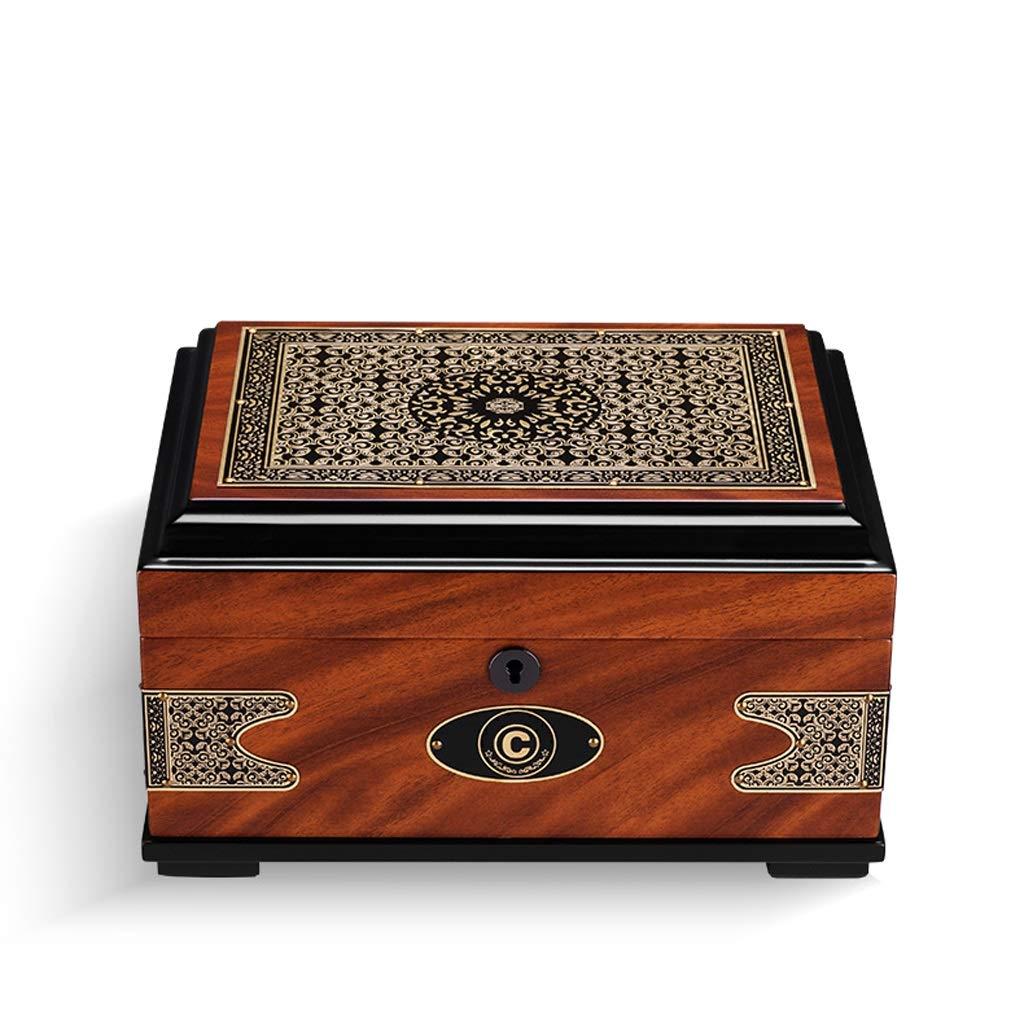 Jian E - (cigar box) - Cigar moisturizing alcoholized Box European Retro Printing Cedar Solid Wood Large Capacity