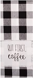 Home Collections by Raghu Buffalo Check But First Coffee Towel, Black, White