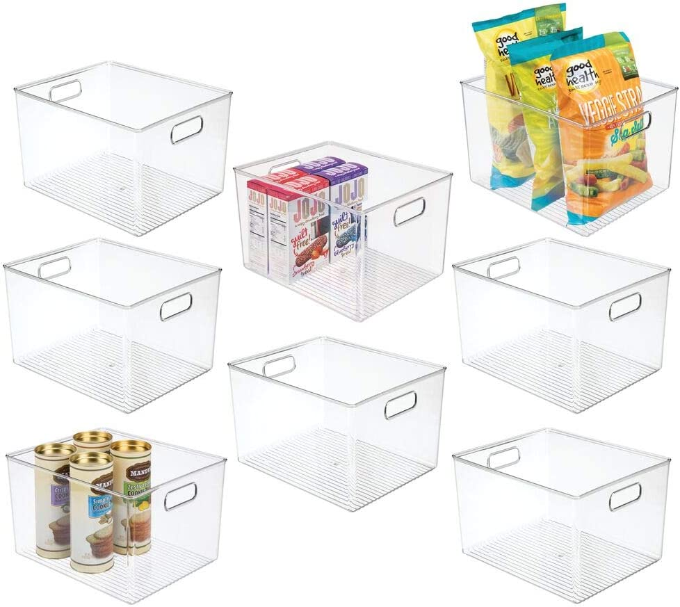 mDesign Plastic Storage Organizer Container Bins Holders with Handles - for Kitchen, Pantry, Cabinet, Fridge/Freezer - Large for Organizing Snacks, Produce, Vegetables, Pasta Food, 8 Pack - Clear
