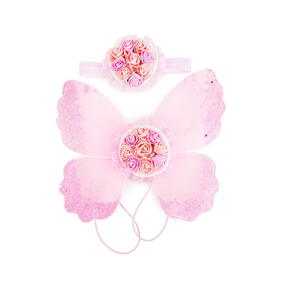 Stock Show Pet Dog Beautiful Blingbling Butterfly Wing Harness and Flower Headdress Pet Dog Princess Sweet Harness Ornament Dog Puppy Flower Bowtie Hair Accessories for Small Medium Dogs, Pink