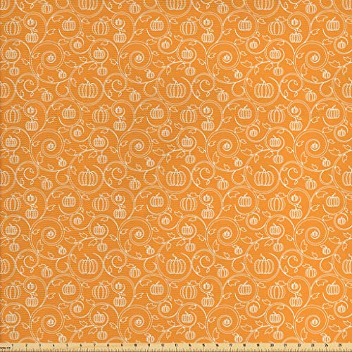Ambesonne Harvest Fabric by The Yard, Pattern with Pumpkin Leaves and Swirls on Orange Backdrop Halloween Inspired, Decorative Fabric for Upholstery and Home Accents, 1 Yard, Orange White -