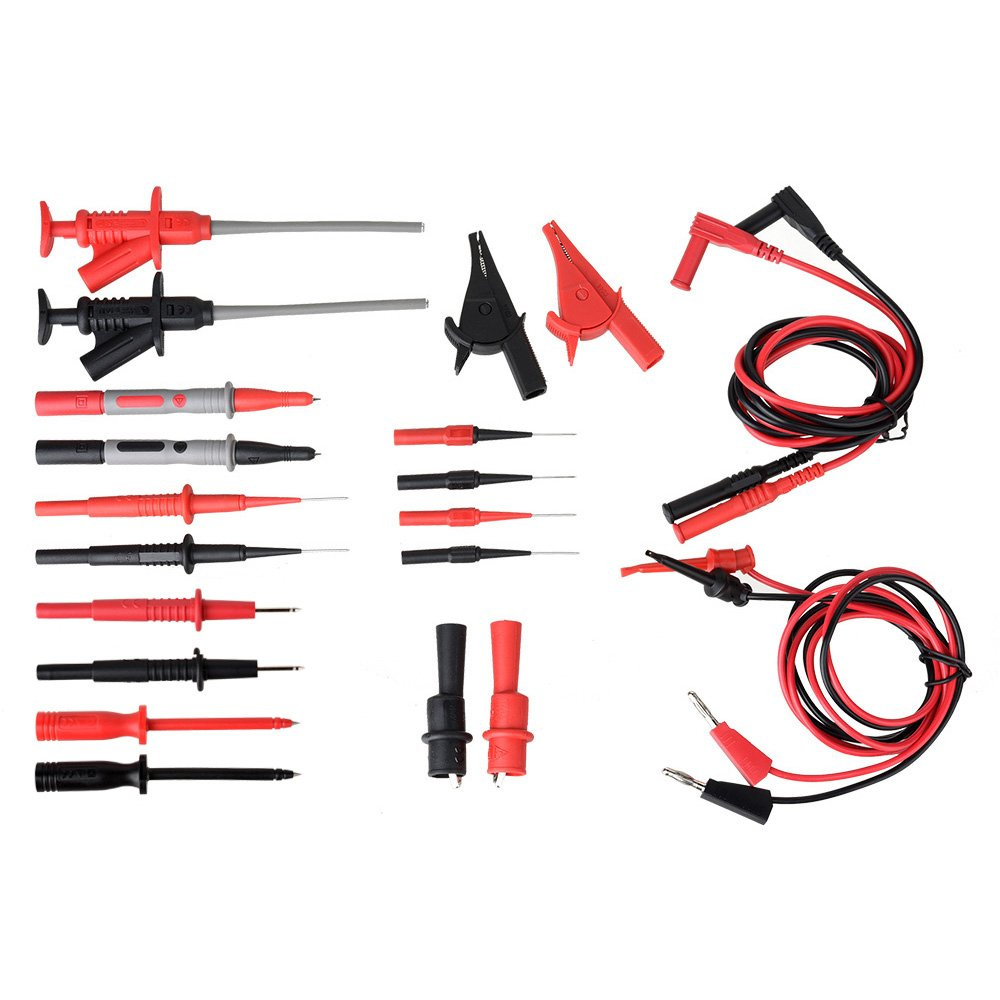 Multimeter Test Leads,moonlux 22-Pieces Electronic Professional Test Leads Kit Includes Test Extension, Alligator Clips, Test Probes Hooks manufacturer