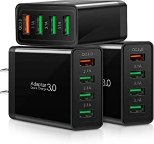 QC 3.0 Wall Charger, 3-Pack iSeekerKit 4 Ports USB Wall Charger Adapter Fast USB Charging Block Compatible Wireless Charger, Samsung Galaxy S9/S8 Note 8/9, iPhone,iPad, Tablet and More-Black