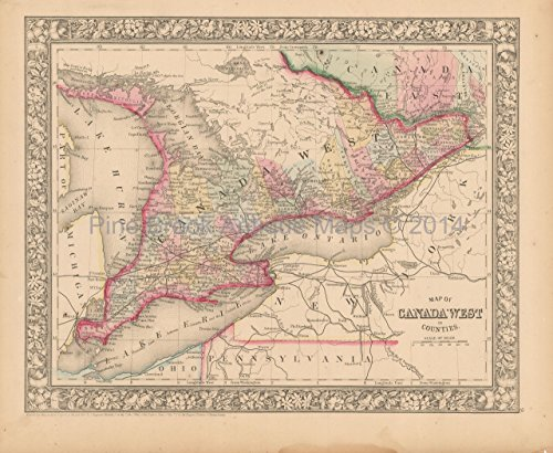 Canada West Ontario Antique Map Mitchell 1866 Authentic Canadian Decor History Gift Idea