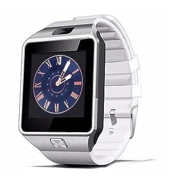Reloj inteligente dz09 Digital muñeca con hombres Bluetooth electrónico tarjeta SIM deporte Smartwatch para Samsung teléfono android, blanco: Amazon.es: ...