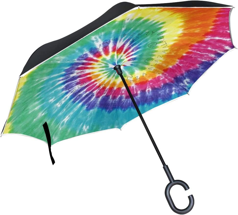 SLEPOPO Inverted Umbrella,Windproof UV Protection Big Straight Umbrella with C-Shaped Handle and Carrying Bag Tie Dye Double Layer Reverse