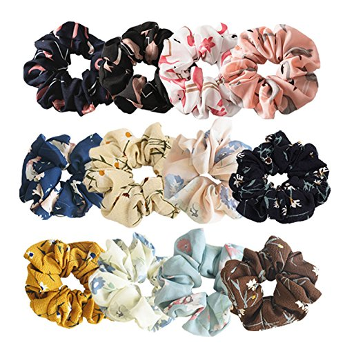 Pack of 12 Chiffon Floral Hair Scrunchies,Women Hair Bow Chiffon Ponytail Holder,8 pcs Elastic Colorful Flower Hair Scrunchies and 4 flamingo Print Hair Scrunchies (8 pcs Flower + 4 pcs Flamingo)