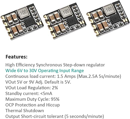 3Pcs Matek Micro BEC 6-30V to 5V//9V-ADJ Step-down Regulator for RC FPV Racing Dr