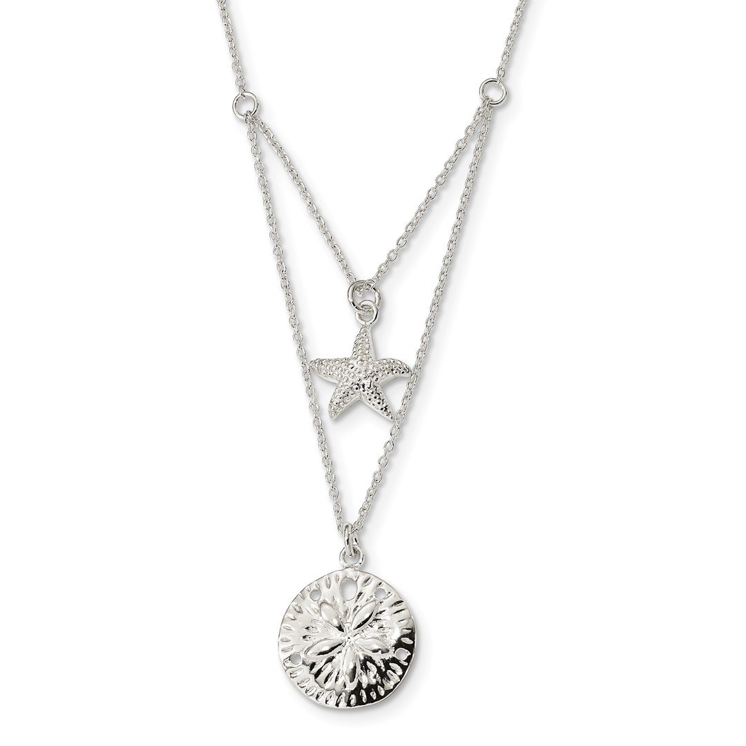 ICE CARATS 925 Sterling Silver 2 Strand Starfish Sand Dollar Sea Star 18 Inch Chain Necklace Pendant Charm Life Fine Jewelry Ideal Gifts For Women Gift Set From Heart