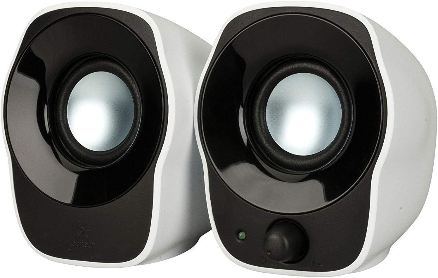 Logitech Z120 Sistema de Altavoces Compacto para PC, Entrada Audio 3.5 mm, USB, Controles Integrados, Distribución de Cable, Enchufe EU, Ordenador/Smartphone/Tablet, Blanco/Negro