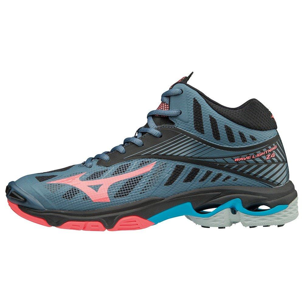 Mizuno Wave Lightning Z4mid, Zapatillas para Mujer 38.5 EU|Multicolor (Bluemirage/Fcoral/Blk 001)