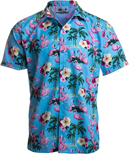 Funny Hawaiian T-shirts (Ann Arbor T-shirt Co. Naughty Flamingo | Funny Drinking Sex Party Hawaiian Button Down Polo Shirt Men-(Collar,XL))