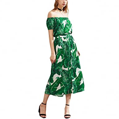 dc3bf2f37676 Image Unavailable. Image not available for. Color  Sexy Summer Dress Green  Palm Leaf ...