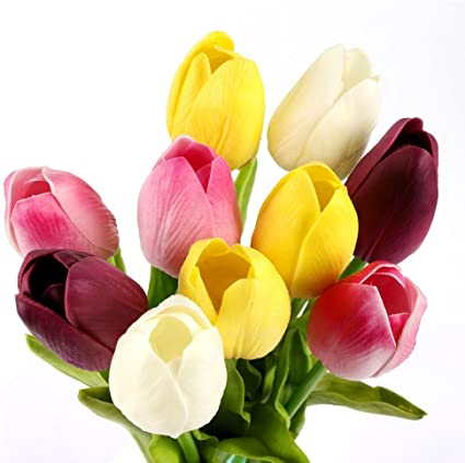 Artificial Real Touch Flower Latex Tulip Floral Stem Posy Bouquet Wedding Decor