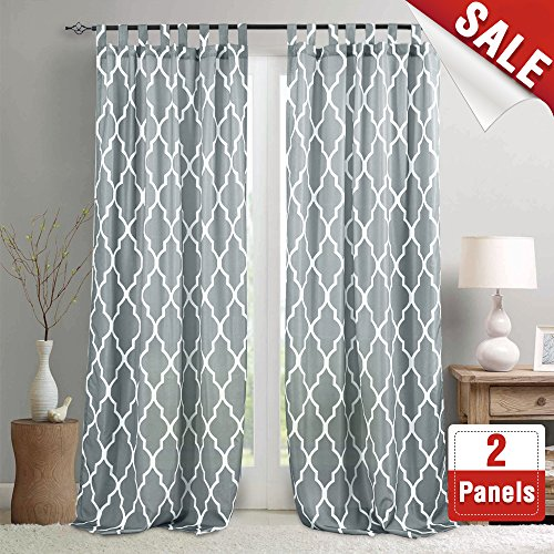 Quatrefoil Printed Curtains for Living Room 108 Inches Long Moroccan Tile Print Geometry Trellis Lattice Waterproof Tab Top Curtain Panels for Bedroom, 2 Panels, Charcoal Gray - Printed Tab Top Curtains