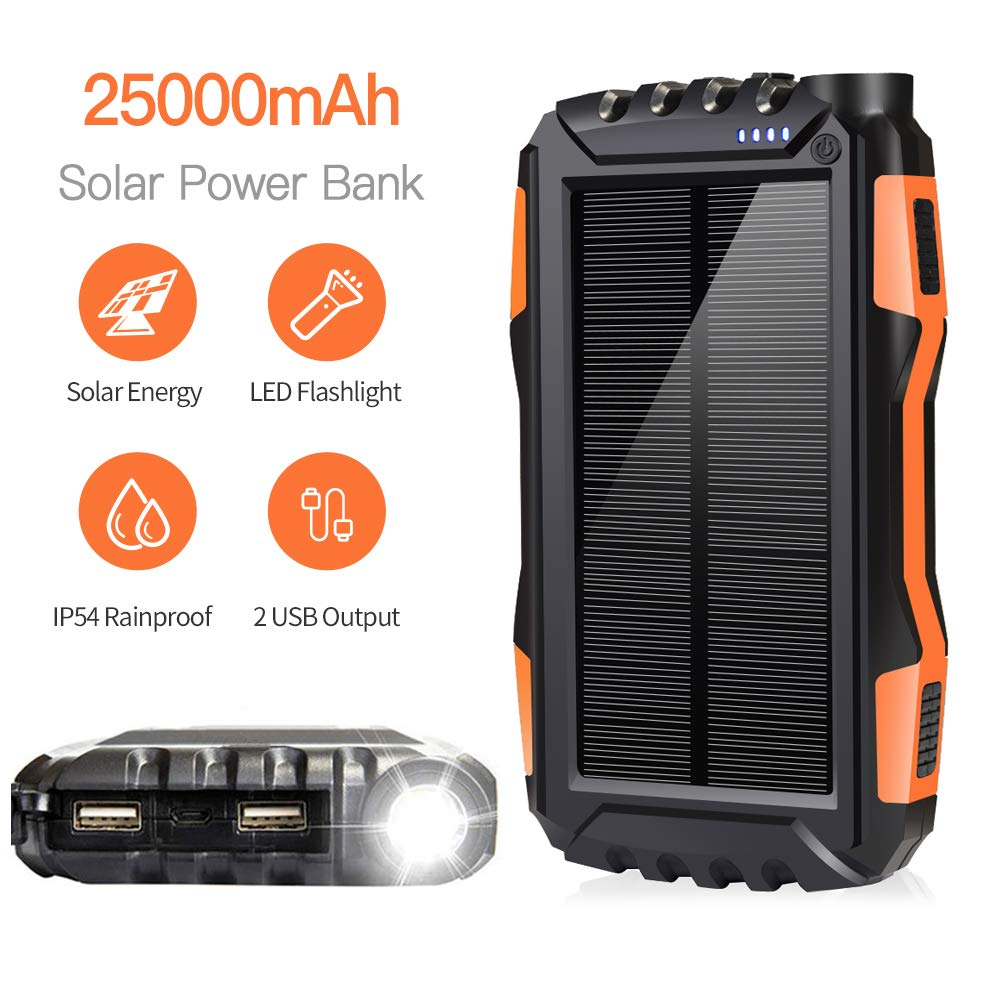 soyond Solar Phone Charger, Solar Power Bank, 25000 mAh Portable Backup Battery Pack Power Bank Solar Battery Charger Dual USB Waterproof Led Light (Orange_25000mAh) by soyond
